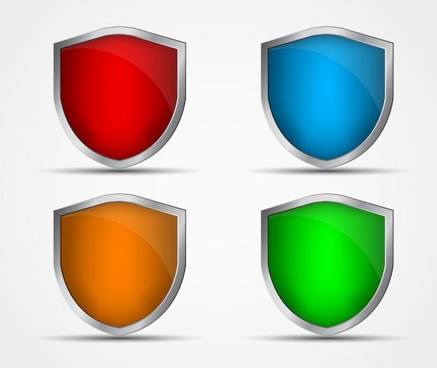 Conjunto de iconos de diferentes colores y formas de escudos