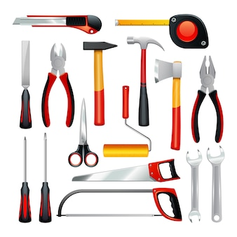 Conjunto de iconos de diferentes herramientas simples para tareas domésticas y reparación no profesional