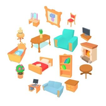 Conjunto de iconos de diferentes muebles, estilo de dibujos animados