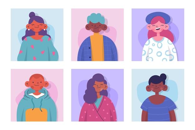 Conjunto de iconos de diferentes perfiles dibujados a mano