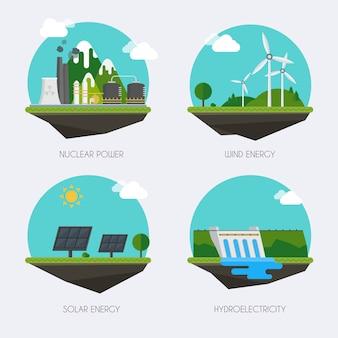 Conjunto de iconos con diferentes tipos de generación de electricidad. paisaje y concepto de edificios de fábrica industrial. vector plano infografía.