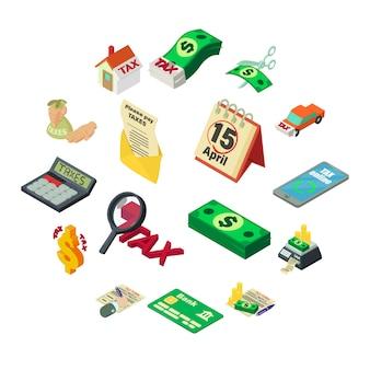 Conjunto de iconos de dinero de contabilidad impuestos, estilo isométrico
