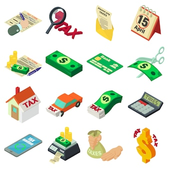Conjunto de iconos de dinero de contabilidad de impuestos. ilustración isométrica de 16 impuestos iconos de vector de dinero de contabilidad para web