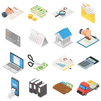 Conjunto de iconos de dinero de contabilidad de impuestos
