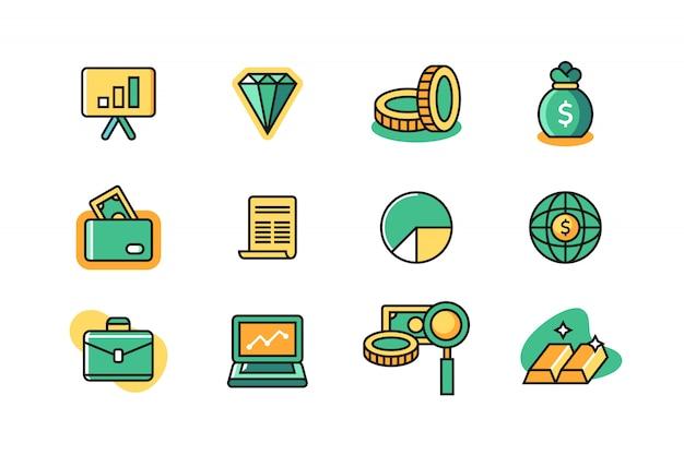 Conjunto de iconos de dinero y negocios