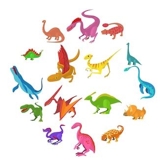 Conjunto de iconos de dinosaurio, estilo de dibujos animados