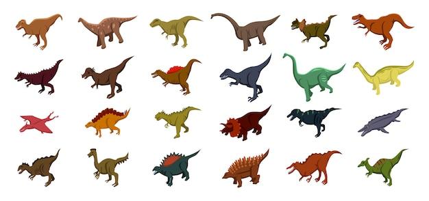 Conjunto de iconos de dinosaurios, estilo isométrico