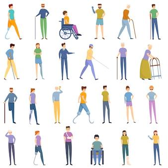 Conjunto de iconos para discapacitados, estilo de dibujos animados