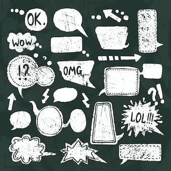 Conjunto de iconos de discurso de burbuja pizarra