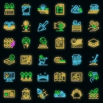 Conjunto de iconos de diseñador de paisaje. esquema conjunto de iconos de vector de paisajista color neón en negro