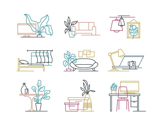 Conjunto de iconos de diseño de interiores de línea intersecada de color.