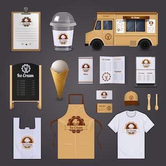 Conjunto de iconos de diseño realista de identidad corporativa de helado