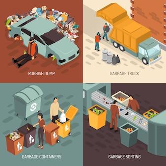 Conjunto de iconos de diseño de reciclaje de basura isométrica