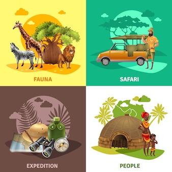 Conjunto de iconos de diseño de safari