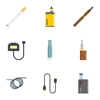 Conjunto de iconos de dispositivo de fumar, estilo plano
