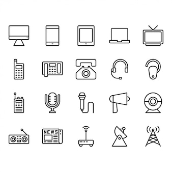 Conjunto de iconos de dispositivos de comunicación