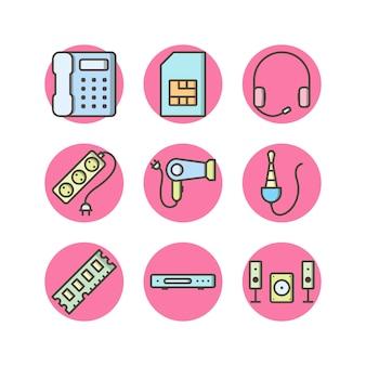 Conjunto de iconos de dispositivos electrónicos aislados en blanco