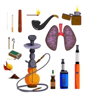Conjunto de iconos de dispositivos de fumar