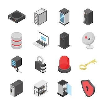 Conjunto de iconos de dispositivos de red y conexión