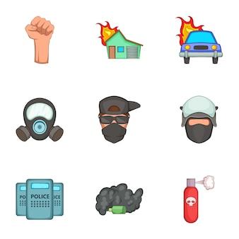 Conjunto de iconos de disturbios públicos, estilo de dibujos animados