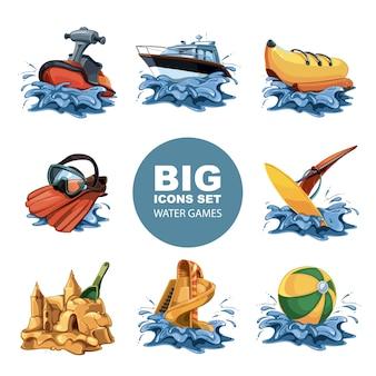 Conjunto de iconos divertidos juegos de agua