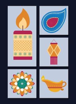 Conjunto de iconos de diwali