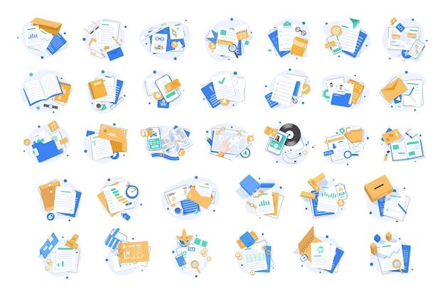 Conjunto de iconos de documento icono de papel conjunto de iconos de carpeta ilustración de vector de icono de diseño plano