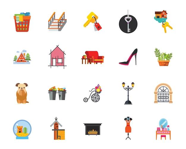 Conjunto de iconos de domesticidad