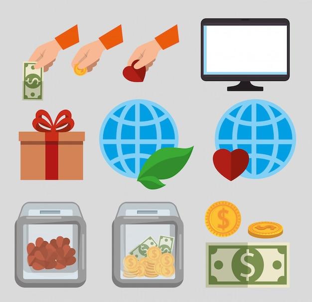 Conjunto de iconos de donación de caridad