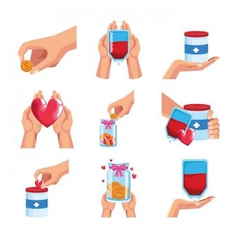 Conjunto de iconos de donación y concepto de dinero
