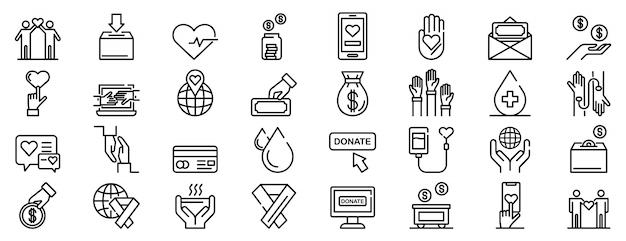 Conjunto de iconos de donaciones, estilo de contorno