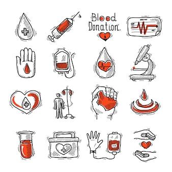 Conjunto de iconos de donante