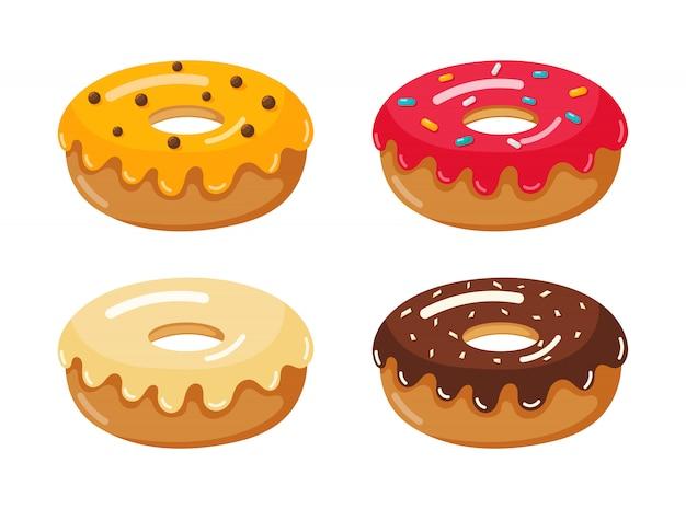 Conjunto de iconos de donut aislado en blanco