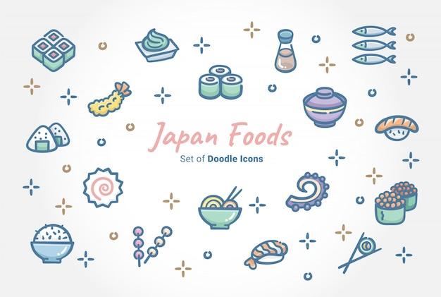 Conjunto de iconos de doodle de alimentos de japón