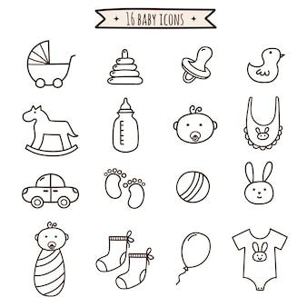 Conjunto de iconos de doodle de bebé