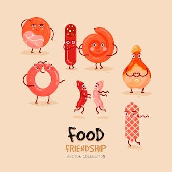 Conjunto con iconos de doodle de carne