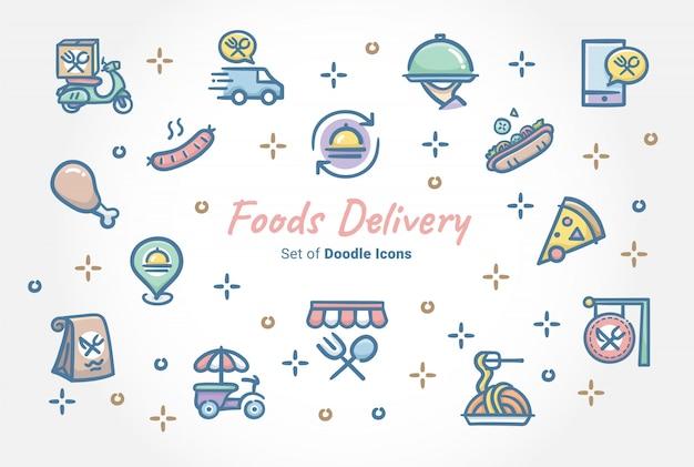 Conjunto de iconos de doodle de entrega de alimentos