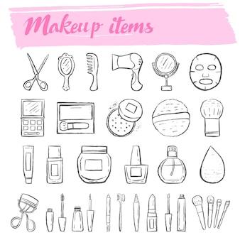 Conjunto de iconos de doodle de kit de maquillaje