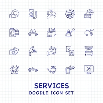 Conjunto de iconos de doodle de servicios