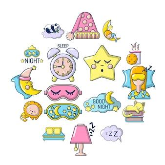 Conjunto de iconos para dormir, estilo de dibujos animados