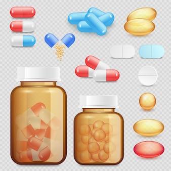 Conjunto de iconos de drogas y pastillas realistas