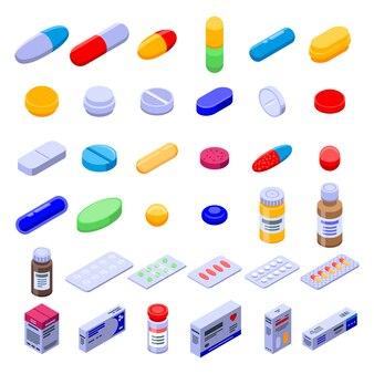 Conjunto de iconos de drogas píldora