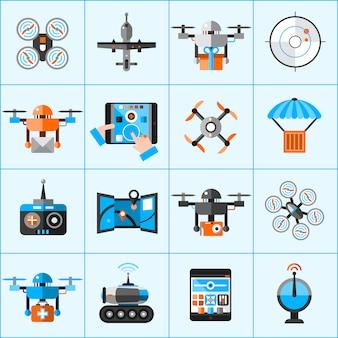 Conjunto de iconos de drone