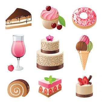 Conjunto de iconos de dulces y caramelos