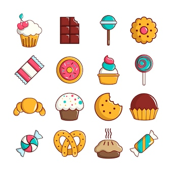 Conjunto de iconos de dulces dulces pasteles