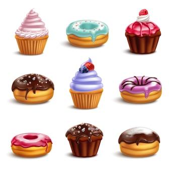 Conjunto de iconos de dulces de galletas