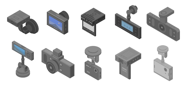 Conjunto de iconos dvr, estilo isométrico