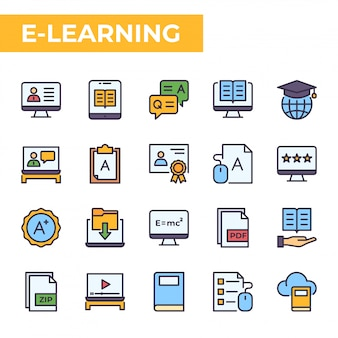 Conjunto de iconos de e-learning, estilo de color relleno