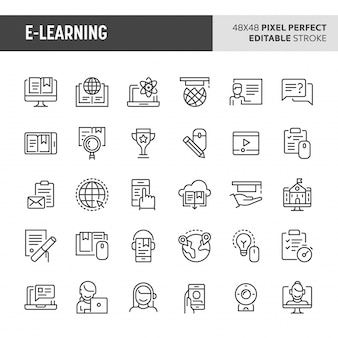 Conjunto de iconos de e-learning