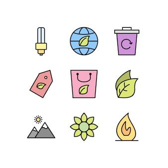 Conjunto de iconos eco aislado en blanco